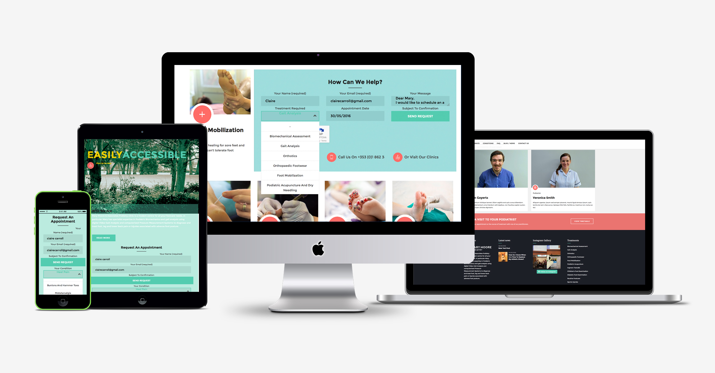 Mary Moore Podiatry, web design, Dublin, digital agency, design